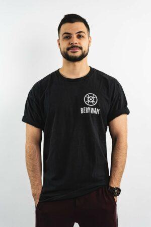 BERYWAM Black T-Shirt with White Logo 1 - Front - Model: Beatness